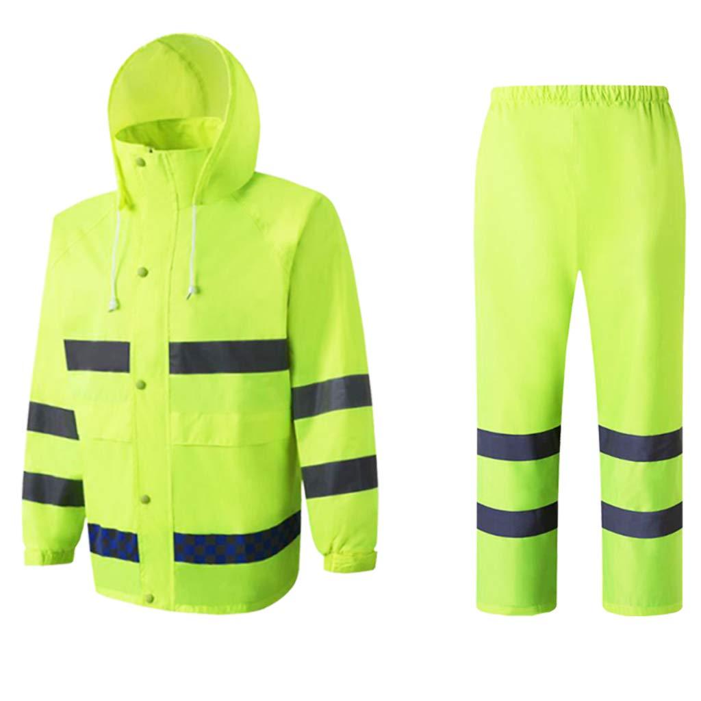 Flameer Reflective Raincoat Waterproof Rainwear Hood Jacket Outdoor Coat Pants Zipper Design - XXL