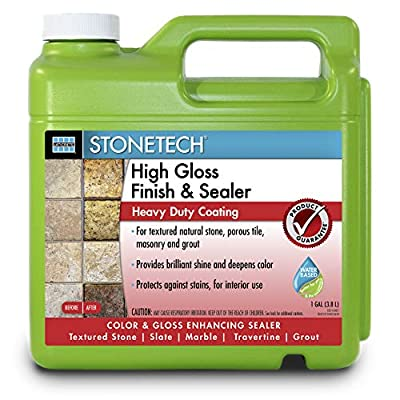 StoneTech High Gloss Finishing Sealer for Natural Stone, Tile, & Grout, 1-Gallon (3.785L)