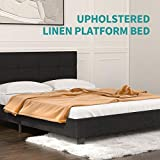 mecor Upholstered Linen Queen Platform Bed/Metal