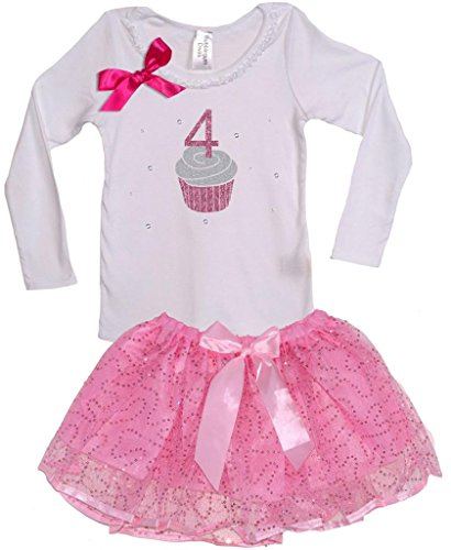 Price comparison product image Bubblegum Divas Little Girls' Cupcake 4th Birthday Long Sleeve TuTu Set