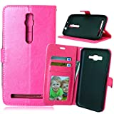 for Asus ZenFone 2 Premium PU Leather Case Pouch, Flip Wallet Case Silicone Cover with Card and Cash Slot for Asus ZenFone 2 5.5 inch ( Color : Rose-Asus ZenFone2 5.5 Inch )