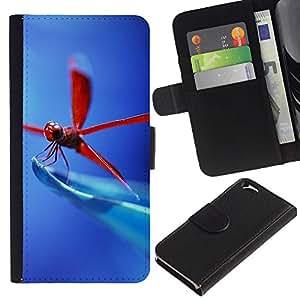 Stuss Case / Funda Carcasa PU de Cuero - Libélula roja - Apple Iphone 6