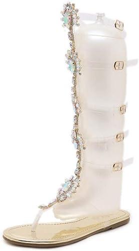 Femme Sandales Plates Bottes Gladiateur Chaussures Bout Ouvert Lanière au-dessus