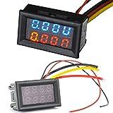 LED Panel Meter Mini Digital Voltmeter DC 0V-30V (10A) Dual LED Digital Tube,Blue Ammeter Voltage AMP Power Meter