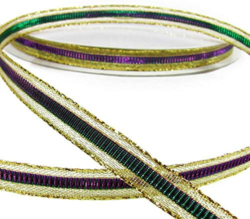 5 Yds Mardi Gras Metallic Color Changing Mirage Purple Green Ribbon 3/8
