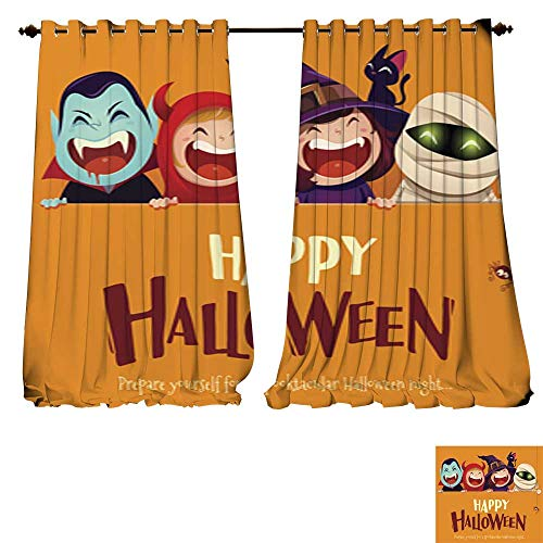 (DESPKON-HOME Window Curtain Drape Happy Halloween Party Group of Kids in Halloween Costume with Big Signboard Thermal Insulated Blackout Curtains -W84 x)
