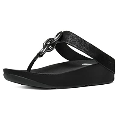Womens Superchain Leather Post Open Toe Sandals FitFlop d3QIOFUn
