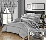 Perfect Home 20 Piece Amari Complete Bed room in a bag. Comforter Set, Sheets Set, window treatments included King Grey
