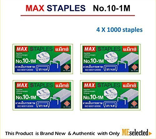 MAX No.10-1M Flat Clinch Staples (27/4.8) for Office Stapler - 4 Boxes (4,000-Staples)