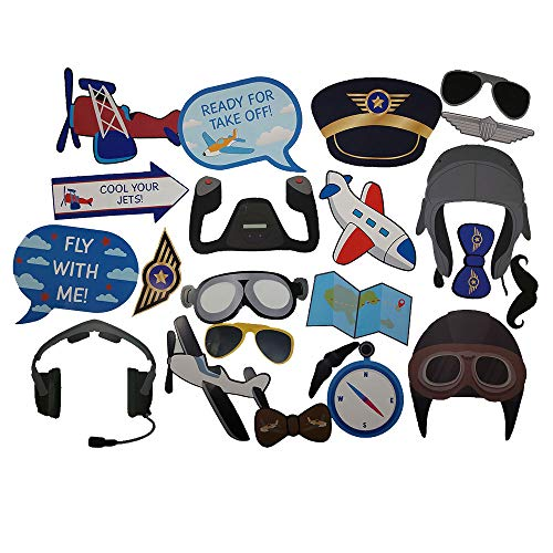 Airplane Photo Props (32 Pieces) for Photo Booths, Kids Birthdays, Airplane Parties and More! Our Airplane Photo Prop Party Favors are Pre-Made (Not DIY) for Your -