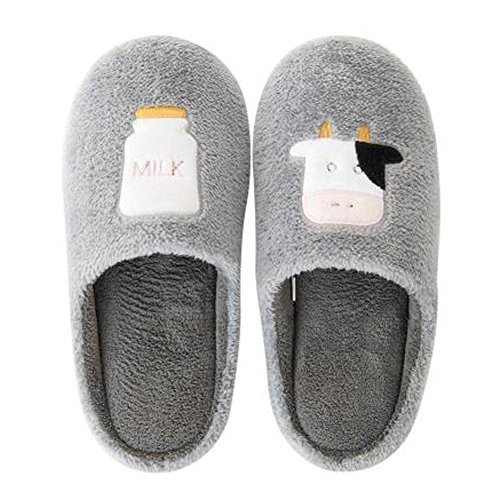 Warm Indoor Winter Antiskid amp;Milk Plush Cow Grey Pattern Slippers Adults Shoes xpqYP80x