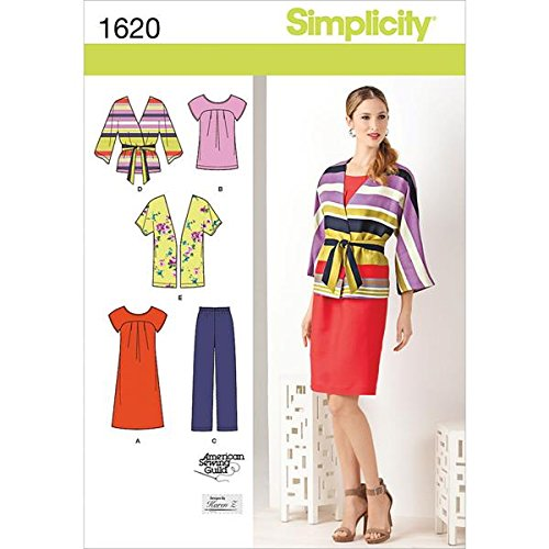 - Simplicity Karen Z Pattern 1620 Womens Pullover Dress or Tunic, Pants, Jacket and Tie Belt Size 20W-28W