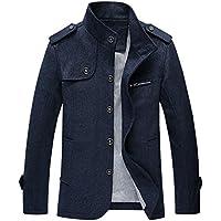 e0d34da1ca1 Chouyatou Men s Military Stylish Single Breasted Natural Fit Stripe Lined  Wool Pea Coats