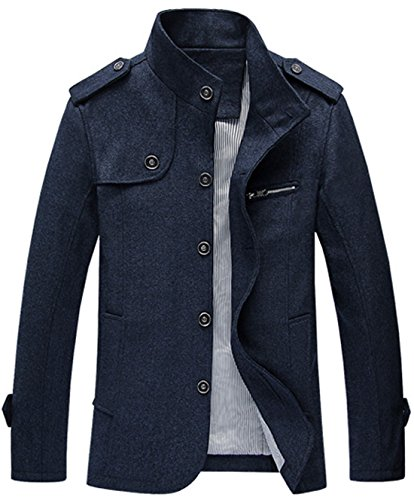 chouyatou Men's Military Stylish Single Breasted Natural Fit Stripe Lined Wool Pea Coats (Large, Dark Blue)