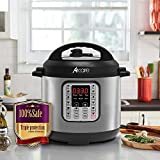 6L 7-in-1 Pressure Cooker Programmable,6 Quart/6L Stainless Steel Multi-Use Cooker,1000W,Slow Cooker,Rice Cooker,Stew,Steamer,Sauté,Yogurt Maker and Warmer by Acare