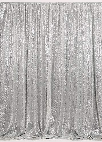 B-COOL Silver Sequin Backdrop 7ftx7ft Photography Backdrop Sequin Backdrop Photography Curtain Backdrop Wedding Photo Booth Curtains Studio Background Sparkly Sequin Background]()
