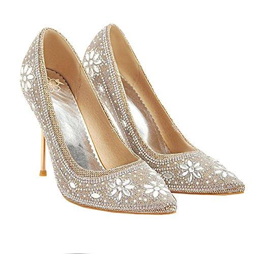 AIYOUMEI Damen Spitze Spitze Spitze Stiletto Pumps mit Strass High Heels Glitzer Hochzeitsschuhe Damen Party Schuhe 105205