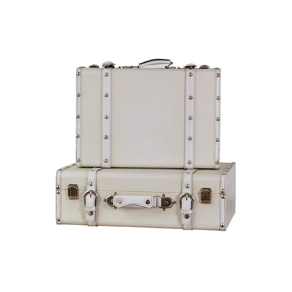 Jtoony-HO Koffer Antik Set 2 Jahrgang Lagerung Koffer Retro Schatztruhe Vintage-Aufbewahrungsbehälter, Koffer Aufbewahrungsbox Schule Home Decor (Farbe : Weiß, Größe : L+S)