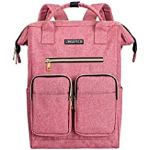 Laptop Backpack for Women, JINS & VICO Lightweight Ladies Backpack Wide Open Large Capatity Laptop Bag for Travel College School Multipurpose Use, Pink