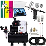 OPHIR Professional Airbrush Air Compressor 0.3mm,0.5mm,0.8mm Airbrush Spray Gun Kit with 110V Airbrushing Air Tank for Tanning Wall Car Paint to 86 Psi Pressure
