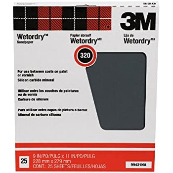 3M Pro-Pak Wetordry Between Finish Coats Sanding Sheets, 320A-Grit, 9-Inch by 11-Inch, 25-Pack