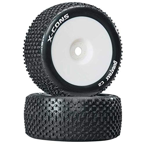 (Duratrax X-Cons 1:8 Scale Truggy Tires with Foam Inserts, C2 Soft Compound, Mounted on White Wheels (Set of 2))