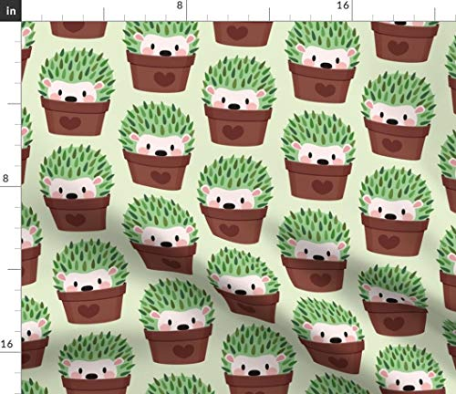 Spoonflower Hedgehog Cactus Fabric - Cacti Cactus Hipster Cacti Cactus Pots Cute Animals Hedgehog Green Hedgehogs Prickly Spiney by Petitspixels Printed on Fleece Fabric by The Yard