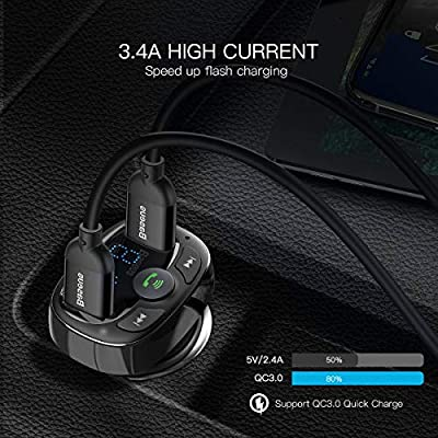 Baseus [Upgraded Version] Blue FM Transmitter for Car, Wireless FM Radio Transmitter Adapter Car Kit, Dual USB Charging Ports, Hands Free Calling, U Disk, TF Card MP3 Music Player: MP3 Players & Accessories