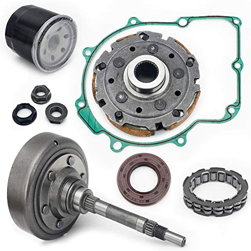 Clutch Oil - TARAZON ATV UTV Clutch Cover + One Way Bearing + Clutch Pad Shoe + Clutch Nut + Gasket + Seal + Oil Filter set for HiSUN UTV ATV MSU 500 700 HS700 MSU500 MASSIMO