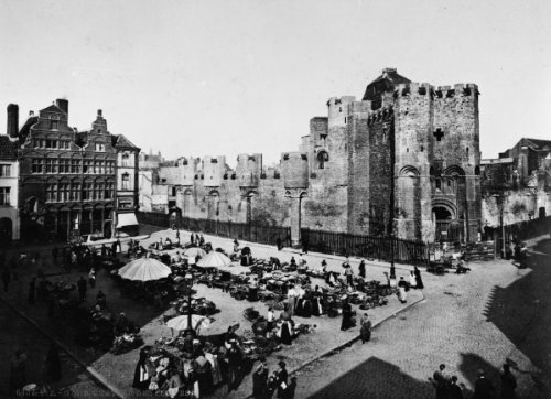 1890 photo of Market square by the Chateau des Comtes in Ghent, Belgium. Size a5