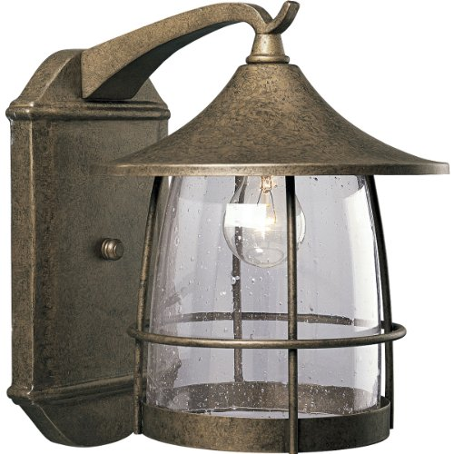 Progress Lighting P5764-86 1-Light Wall Lantern with Wire Frames and Clear Seeded Glass, Burnished Chestnut