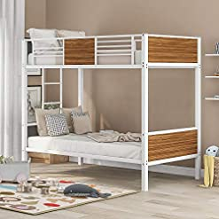 Bedroom HCTT SHOW Twin-Over-Twin bunk Bed Modern Style Steel Frame bunk Bed with Safety Rail, Built-in Ladder for Bedroom, Dorm… bunk beds