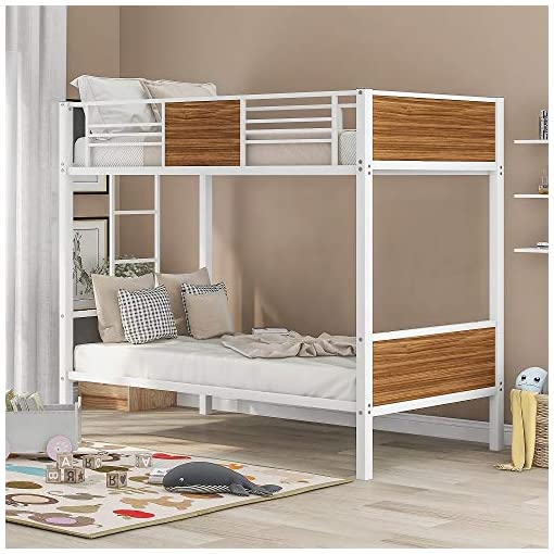 Hctt Show Twin Over Twin Bunk Bed Modern Style Steel Frame Bunk Bed With Safety Rail Built In Ladder For Bedroom Dorm