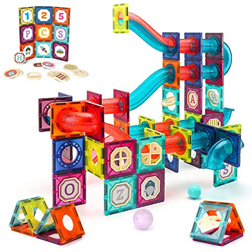 VATOS Magnetic Tiles, 125PCS Magnetic Building Blocks for Kids , 3D Magnet Tiles Pipeline Building Blocks Preschool Educational STEM Toys Best Gifts for Kids Aged 3 4 5 6 7 8 9 10 Years Old