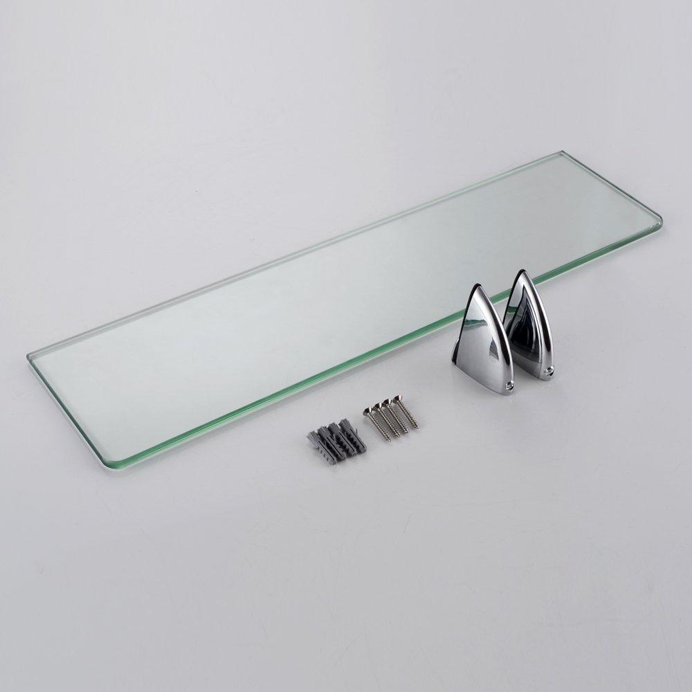 Essentials Tablette murale en verre tremp/é avec supports de fixation polis Umi