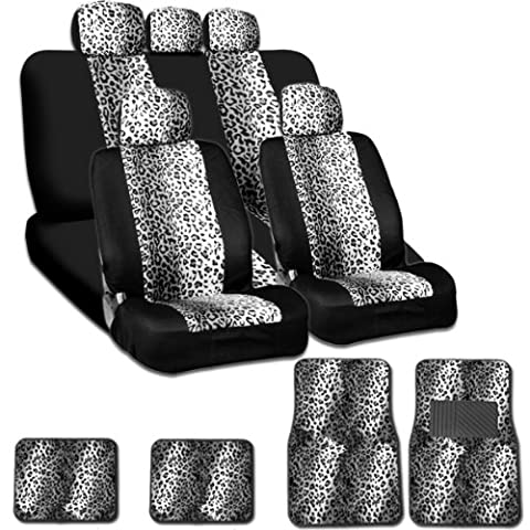 New and Unique YupbizAuto Brand Safari Snow Leopard Print Universal Size Car Truck SUV Seat Covers and Floor Mats Set Velour and Mesh Material Gift Set Smart Pocket (Safari Print Seat Covers)