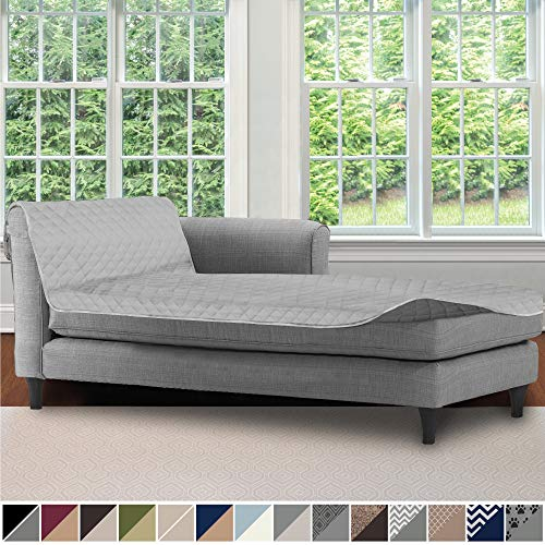 Sofa Shield Original Patent Pending Reversible Sofa Chaise Protector, 102x34 Inch, Washable Furniture Protector, 2 Inch Strap, Chaise Lounge Slip Cover for Pets, Dogs, Kids, Cats, Light Gray Charcoal