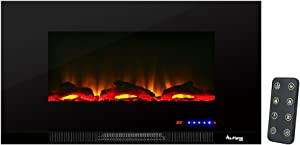 e-Flame USA Livingston 36-inch Wall Mount LED Electric Fireplace Stove with Timer - 3-D Log and Fire Effect