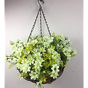 Lopkey Artificial Daisy Flowers Outdoor Indoor Patio Lawn Garden Hanging Basket with Chain Flowerpot,10 inch White 3