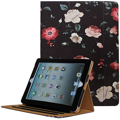 - JYtrend iPad 2 /iPad 3 /iPad 4 Case, Multi-Angle Viewing Stand Leather Folio Smart Cover with Pocket, Auto Wake Up/Sleep for Model A1395 A1396 A1397 A1403 A1416 A1430 A1458 A1459 A1460 (Black/Flower)