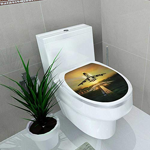 Auraise-home Vinyl Decal Passenger Plane Fly up Over take Off Runway Concept Decoration for Bathroom Toilet W11 x L13 (Concepts Storage Atlanta)
