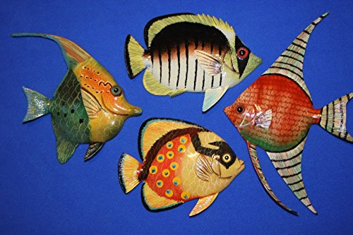 Salty Pelican Colorful Sea Life Fish Nursery Wall Decor, 3-D Poly-resin 6 inch, Bundle 4 Fish