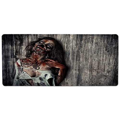 iPrint Pet Mat for Food and Water,Zombie Decor,Angry Dead Woman Sacrifice Fantasy Mystic Night Halloween Image Decorative,Dark Taupe Peach Red,Rectangle Non-Slip Rubber Mat for Dogs and Cats