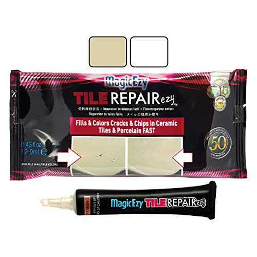 MagicEzy Tile REPAIRezy Tile Repair Kit: Fix and Color Ceramic Tiles (Honey-Beige and White Kit) (Color Ceramic Tiles)