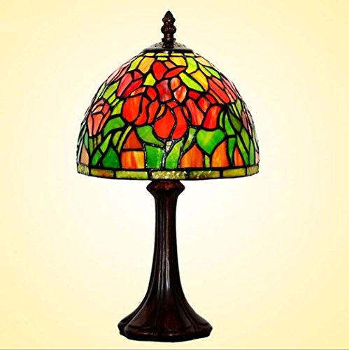 Tiffany Style Table Lamp/Tulip Pattern Shade Glass Desk Lamp,Cafe Western RestaurantArt Table Lights 110-240V/E141,MAX 40W ()