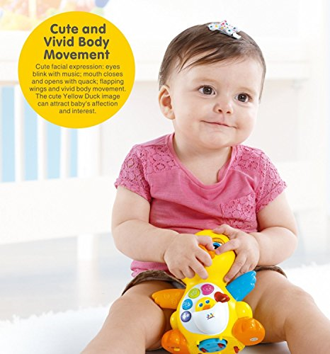 51DXUBEMthL - HOMOFY Yellow Duck Baby Lovely Dancing Singing, Music Lights and Walking, Learning Kids Toys for Girls and Boys Or Toddlers