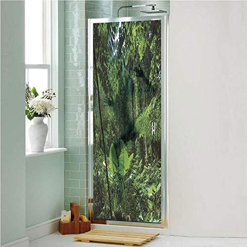 Plant 3D No Glue Static Decorative Privacy Window Films, Green Jungle Untouched Nature Environmental Concerns Flora Fauna Jungle Rainforest Decorative,17.7