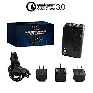 Travel Adapter and Converter: Universal Travel Adapter Step Down 220V to 110V Voltage Converter with 6.2A 4-Port USB and UK/AU/US/EU Worldwide Plug Adapter International Travel Adapter (Black)