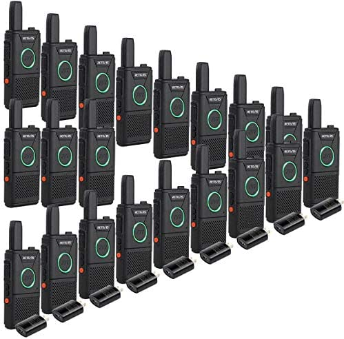 Retevis RT18 2 Way Radios Business Walkie Talkies for Adults Rechargeable with Dual PTT Metal Clip Ring Indicator Light 20 Pack