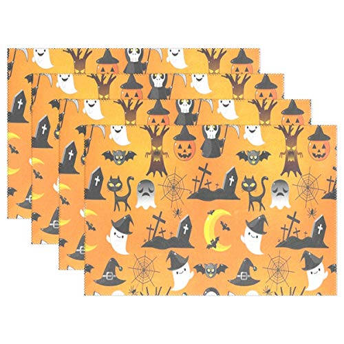 NMCEO Place Mats Cartoon Halloween Personalized Table Mats for Kitchen Dinner Table Washable PVC Non-Slip Insulation 1 Piece